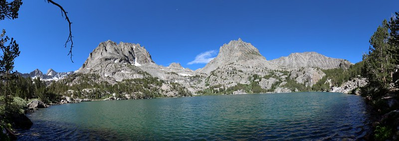 Panorama shot at Fifth Lake with Mount Robinson, Two Eagle Peak, and Cloudripper