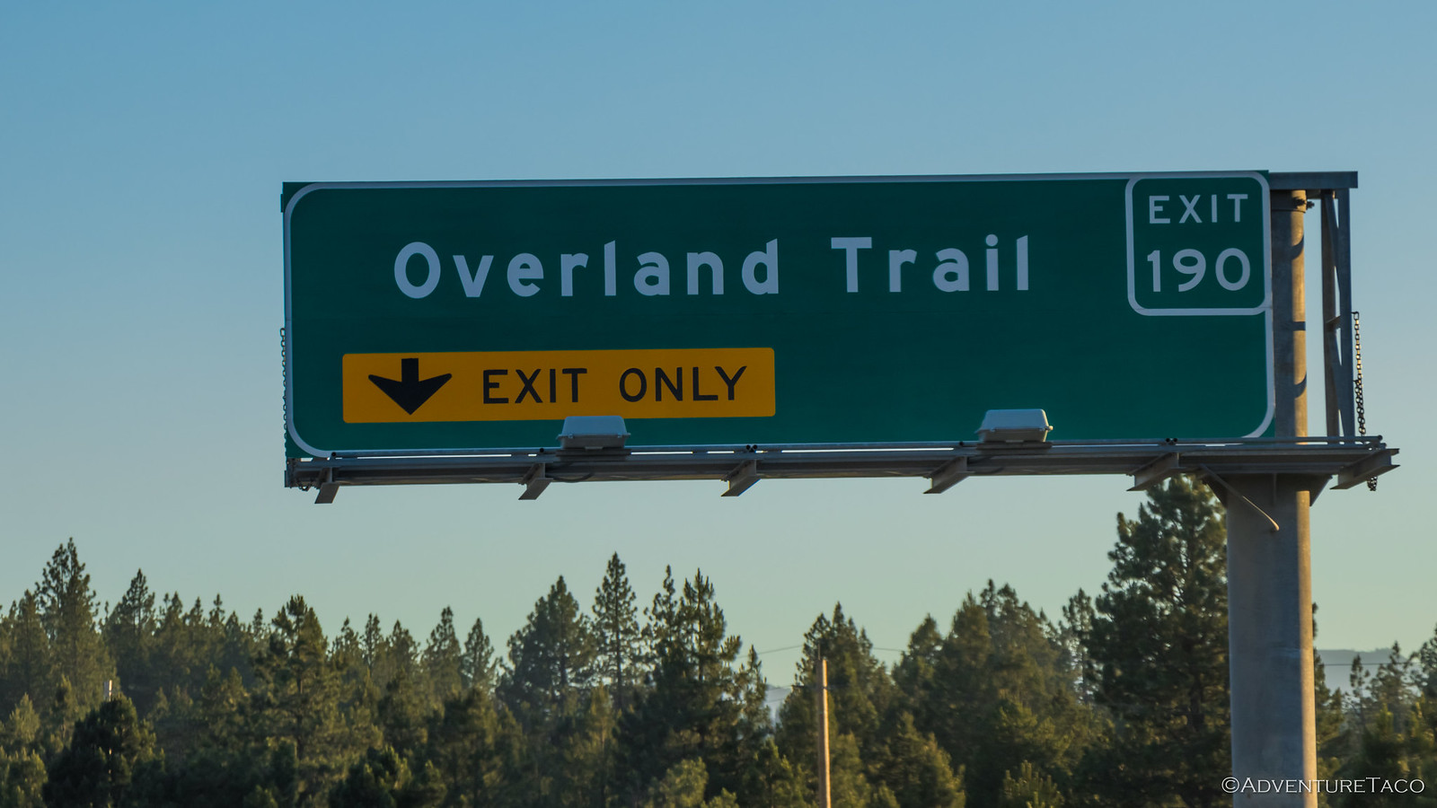overland trail freeway exit sign