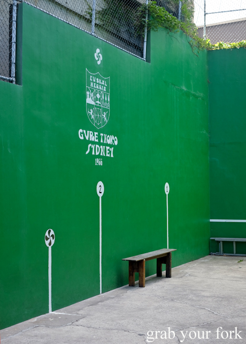 Pelota court at Gure Txoko Basque Club in Sydney