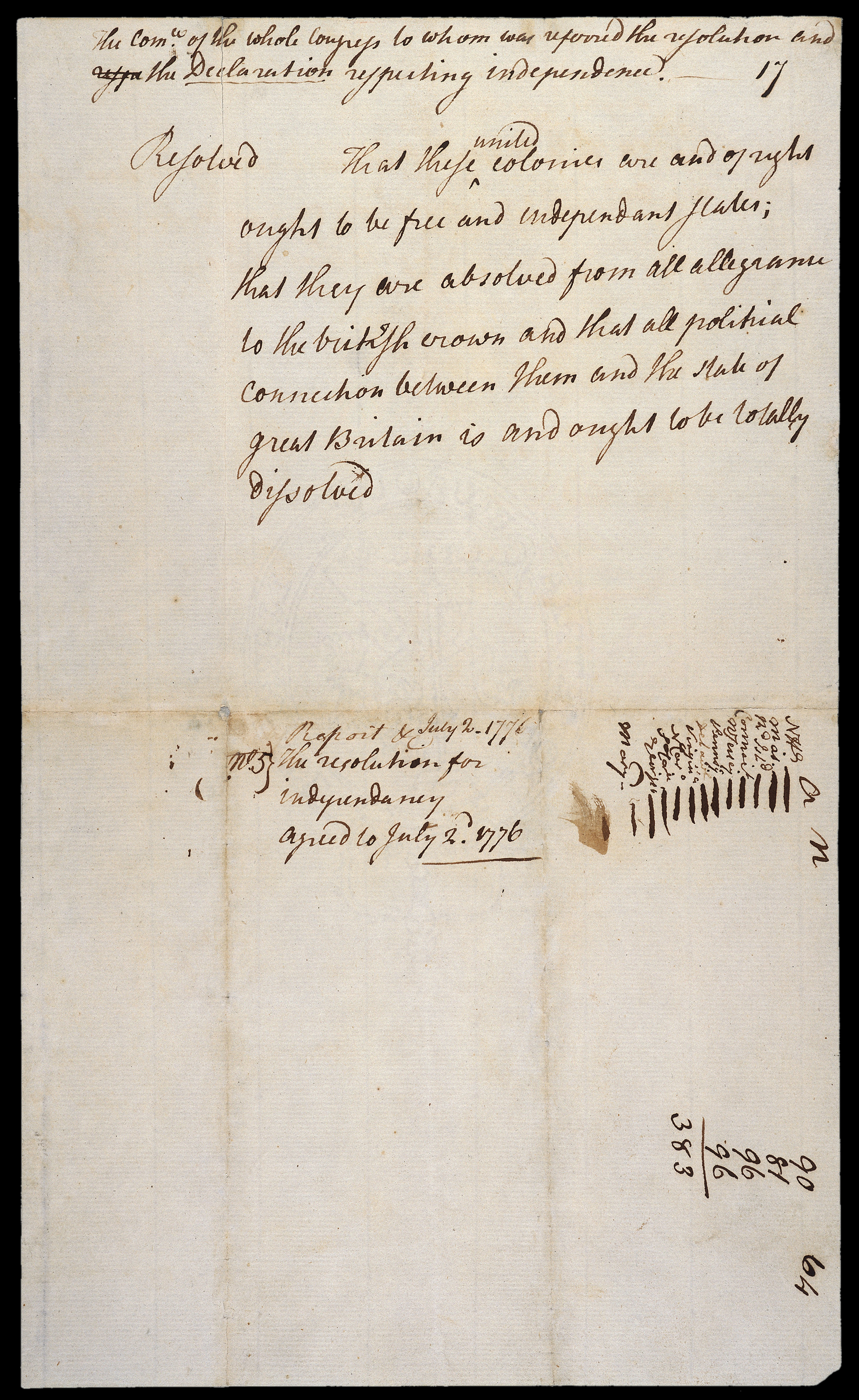 The Lee Resolution for Independency. This proposal was presented to the Continental Congress on June 7, 1776, by Richard Henry Lee of Virginia, with the motion seconded by John Adams of Massachusetts. The image documents the vote taken by the Continental Congress on July 2, 1776, where they asserted independence from Great Britain. 12 colonies are recorded as having voted in the affirmative. New York delegates did not deem themselves to be empowered for such a vote, so they abstained.