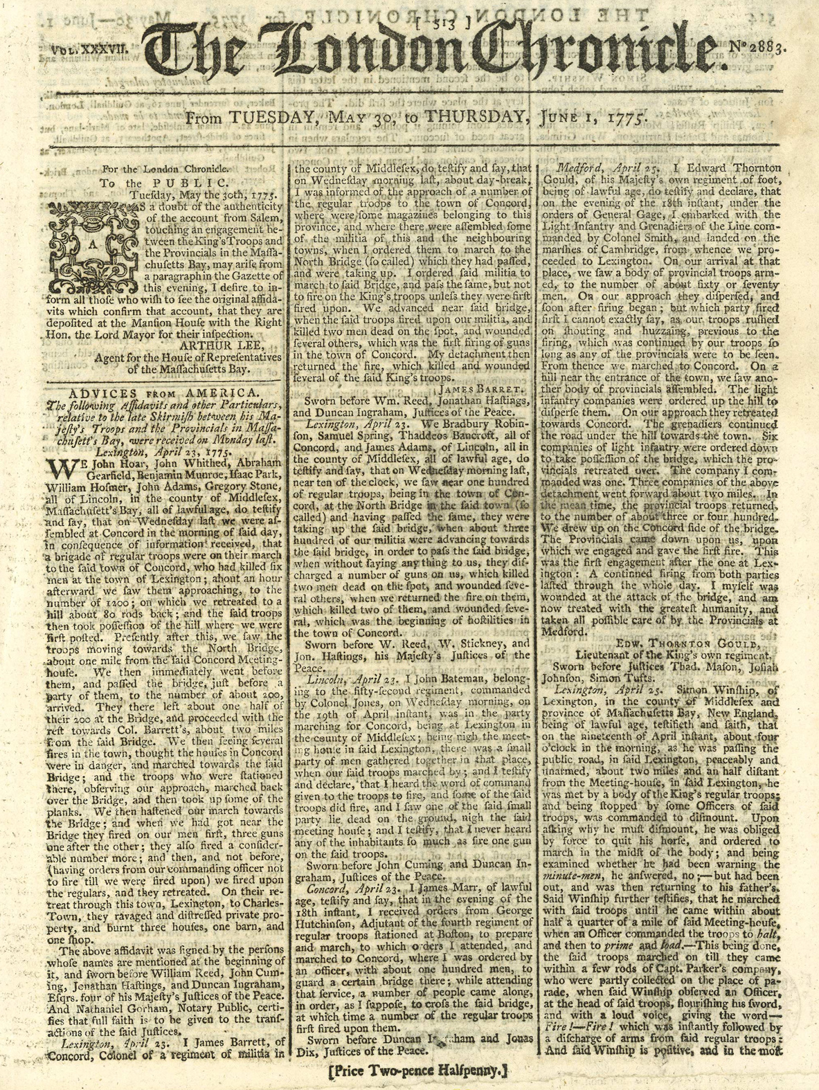 June 1, 1775, edition of The London Chronicle.