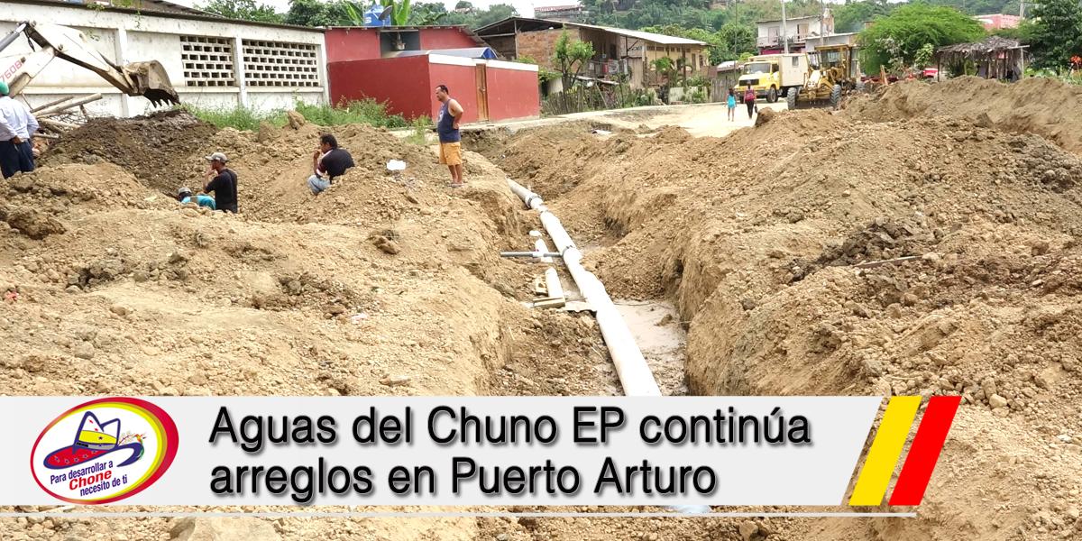 Aguas del Chuno EP continúa arreglos en Puerto Arturo