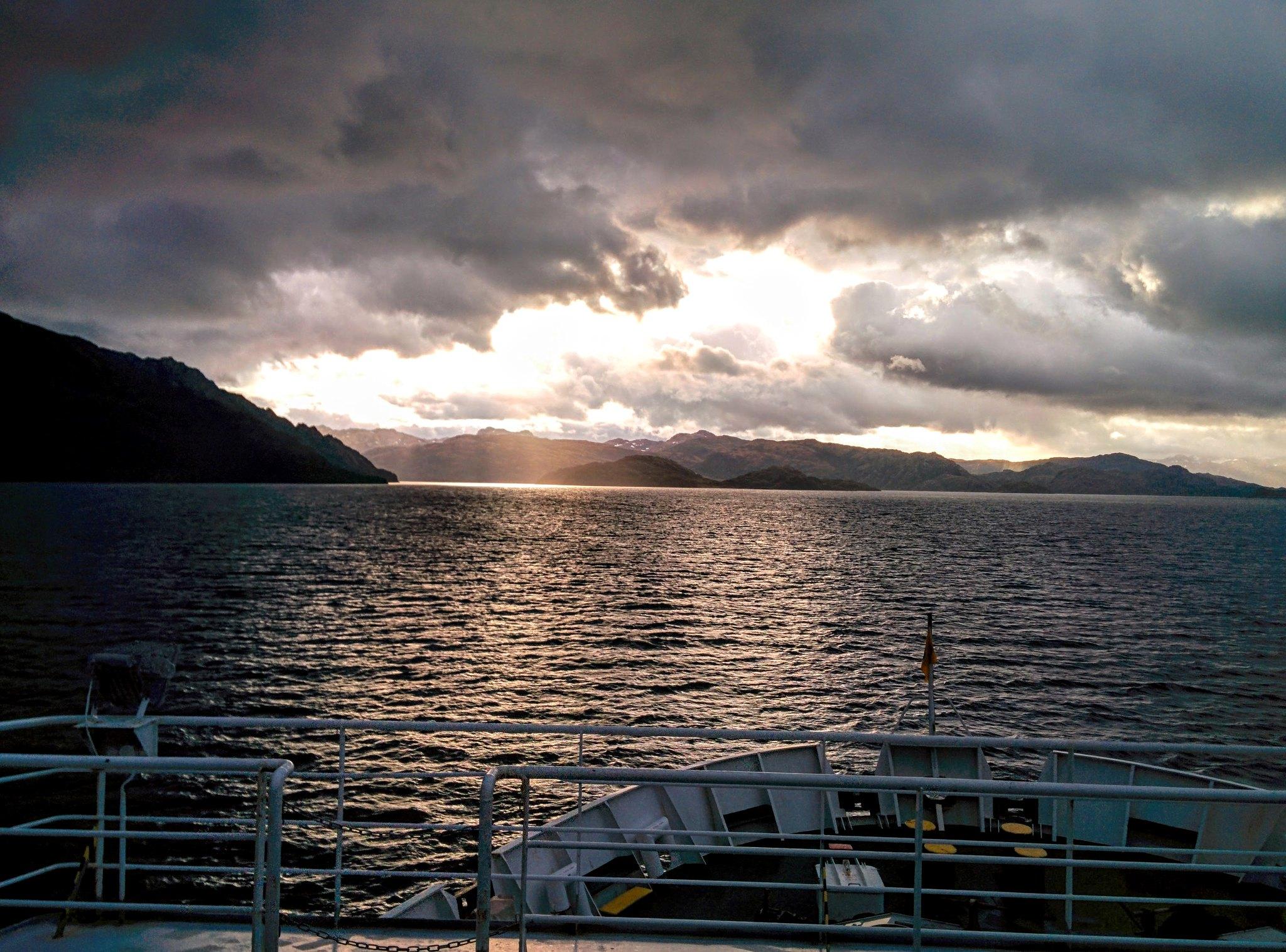 A golden sunrise as we enter Unión Sound