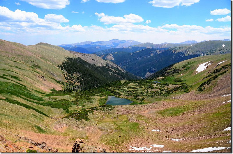 Looking down at Blue Lake & Blue Creek drainaga from the saddle below Colorado Mines Peak 1