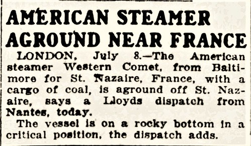 American Steamer Aground Near France
