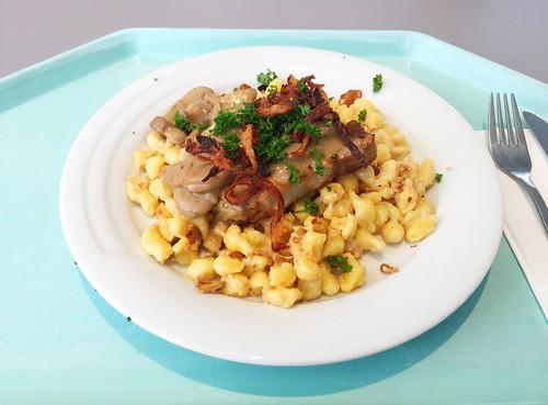 Swabian dish - Pork minute steak with mushroom sauce, cheese spaetzle & fried onions / Schwabenteller -  Minutensteak vom Schwein mit Schwammerlsauce, Käsespätzle & Röstzwiebeln