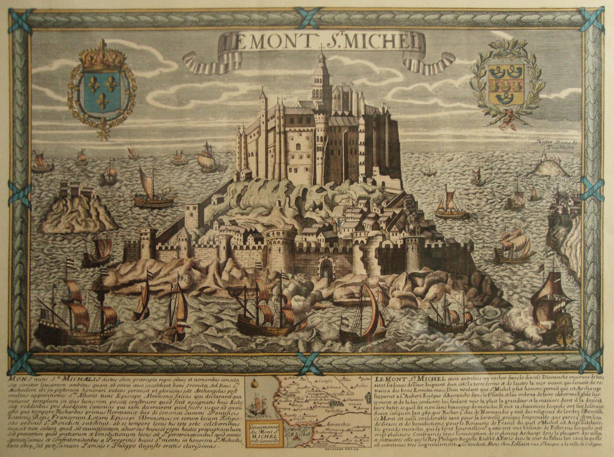 Engraved view of Mont Saint-Michel, Normandy.