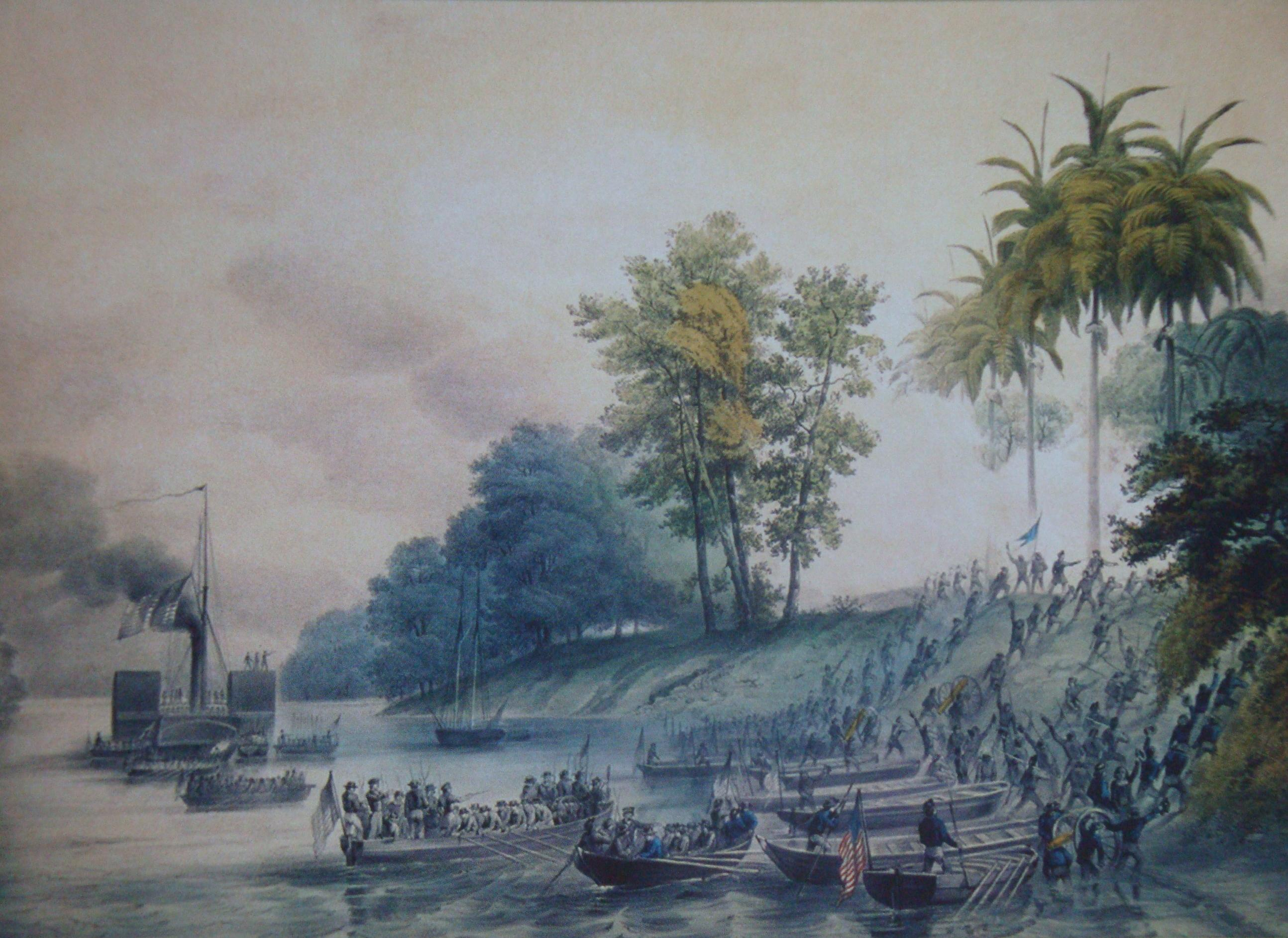 Perry attacked and took San Juan Bautista (Villahermosa today) in the Second Battle of Tabasco. Disembarkation in San Juan Bautista, capital of the Mexican state of Tabasco, during the American intervention developed between 1846 and 1847. On October 25 and 26, 1846, the First Battle of Tabasco took place, in which the Tabasco forces were victorious. On June 16, 1847 the Second Battle of Tabasco was unleashed, with the Americans coming out victorious, occupying the state capital. Finally the invaders were expelled from the state on July 22, 1847.
