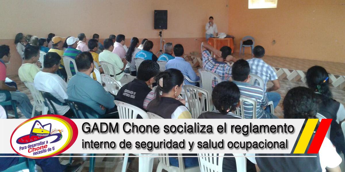 GADM Chone socializa el reglamento interno de seguridad y salud ocupacional