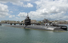 USS Bremerton (SSN 698) departs Joint Base Pearl Harbor-Hickam for the final time, April 20. (U.S. Navy/MC2 Shaun Griffin)