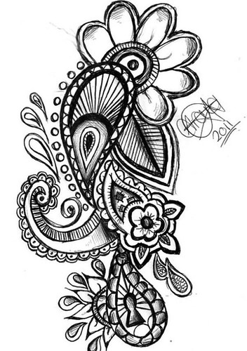 Flowers Drawings : Paisley Tattoo Design.