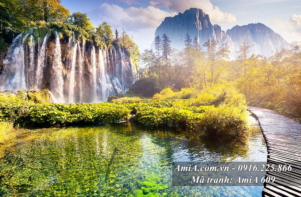 Tranh phong cảnh đẹp từ thiên nhiên thác nước Amia