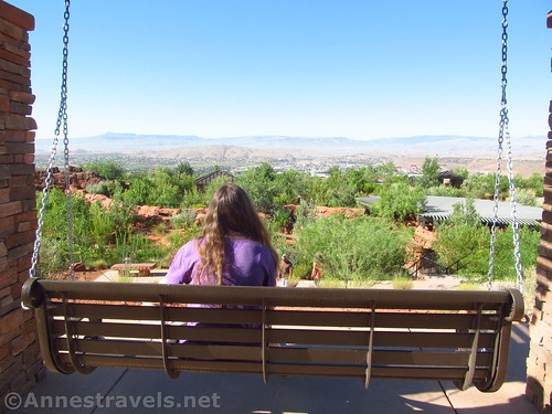 Swinging above St. George in the Red Hills Desert Garden adjacent to Pioneer Park, Utah
