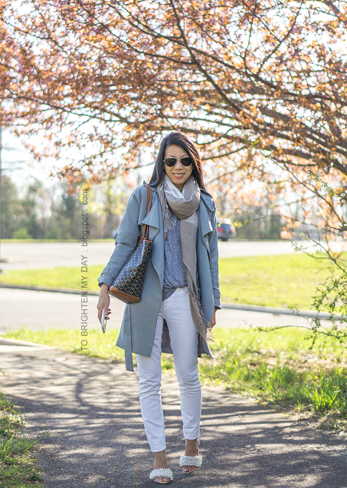 plaid scarf, draped trench coat, gray top with twist hem, white jeans, patterned tote, pearl embellished sandals