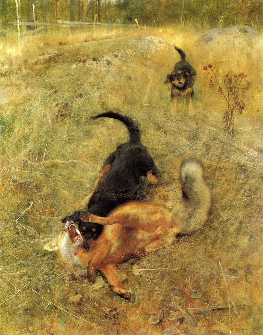 Beagle and Fox (1885) by Bruno Liljefors