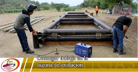 Cosangar trabaja en la laguna de oxidación