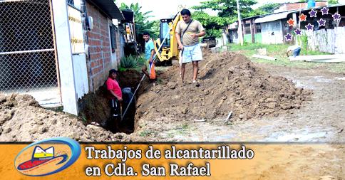 Trabajos de alcantarillado en Cdla. San Rafael