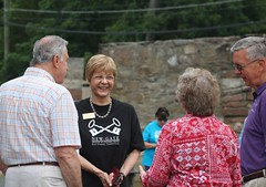 Rep. Zawistowski talking with visitors at Old New Gate