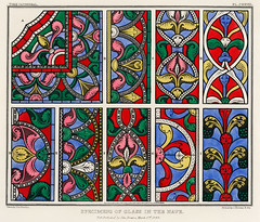 Specimens of the Glass in the Nave (1845) by John Bowne, a vibrantly colored painting of the vintage glass of York Cathedral. Digitally enhanced from our own original plate.