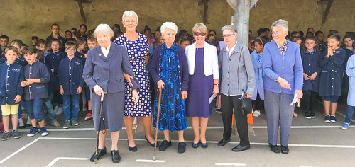 From left to right: Deirdre O'Hanlon SSL, Uainín Clarke SSL, Clare Ryan SSL, Noreen Shankey SSL, Anne Killeen SSL and Elizabeth Beirne SSL in front of the pupils of the Maternelle at Cours Bautain during the ritual of the transfer of the trusteeship of th