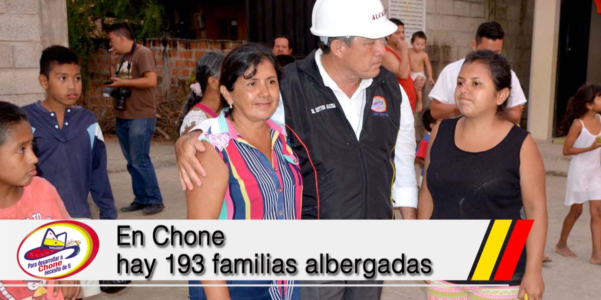 En Chone hay 193 familias albergadas