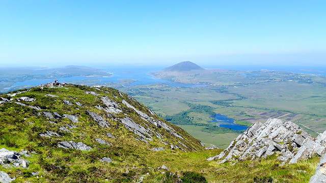 View of the rugged coastline and lakes from the top of Diamond Hill, Connemara National Park, Ireland