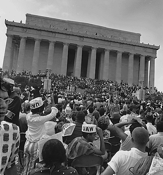 Civil Rights marchers at the Lincoln Memorial, August 28, 1963.