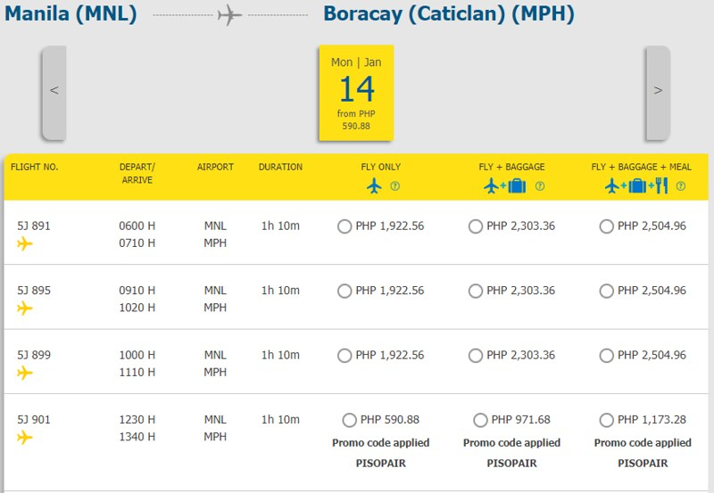 Cebu Pacific Piso Pair Manila to Caticlan Boracay