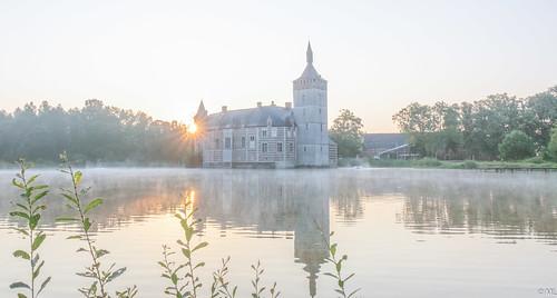 sunrise castle misty water landscape morning summer