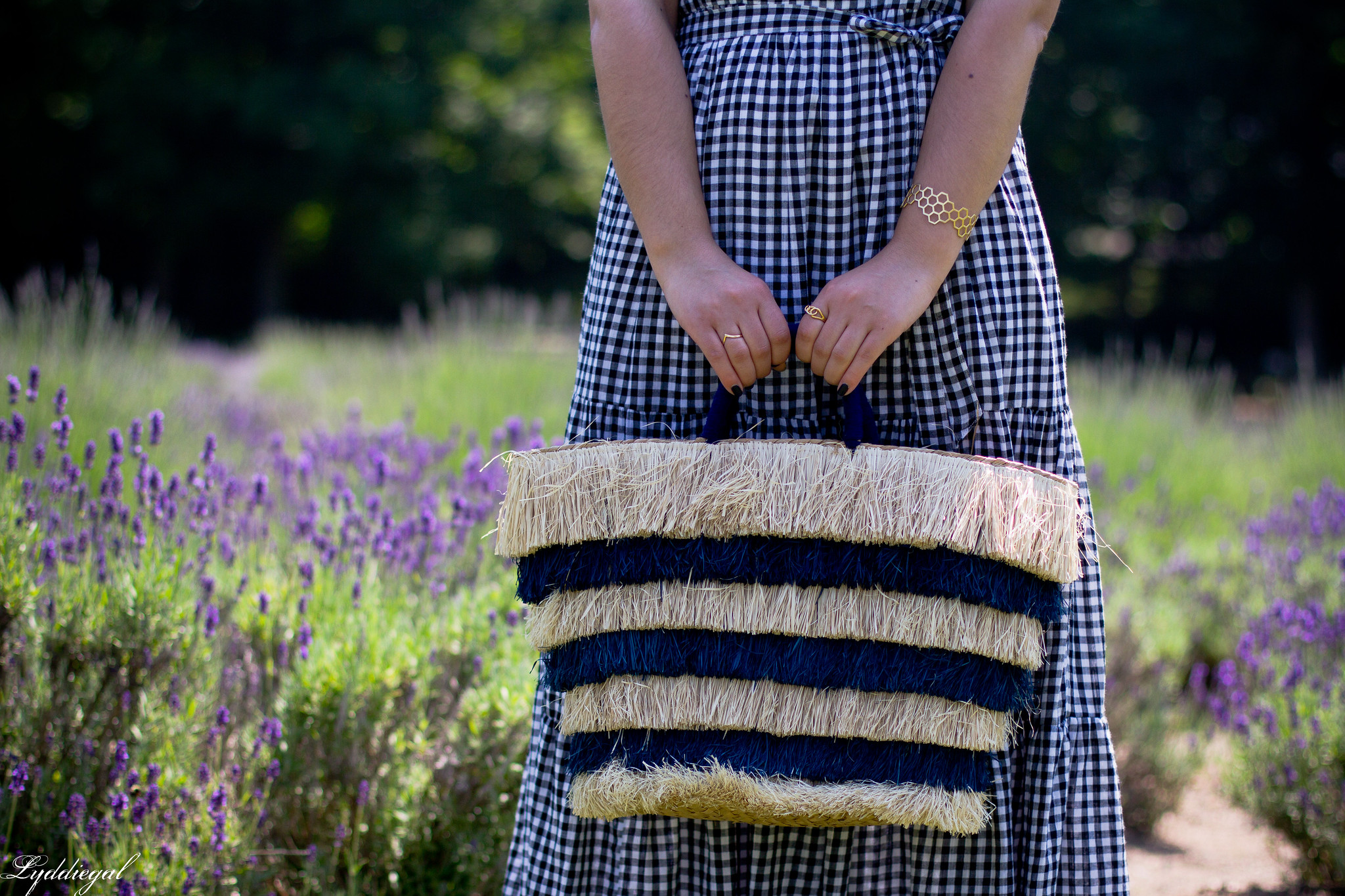 gingham maxi dress, pinata tote bag, lavender field-10.jpg