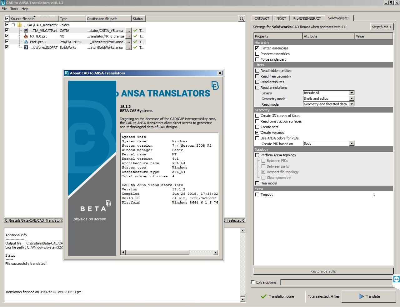 Working with BETA-CAE Systems Nasa Translators v18.1.2 full license