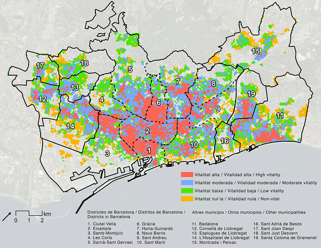 Mapa de la vitalitat urbana a Barcelona