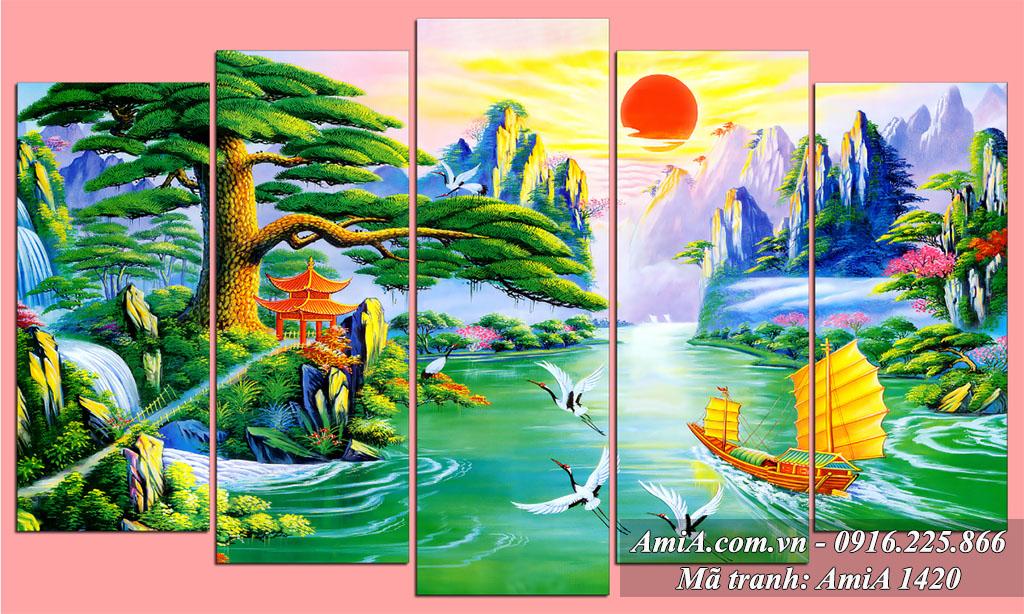 Tranh phong cảnh sơn thủy hữu tình thác nước đẹp