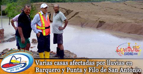 Varias casas afectadas por lluvias en Barquero y Punta y Filo de San Antonio