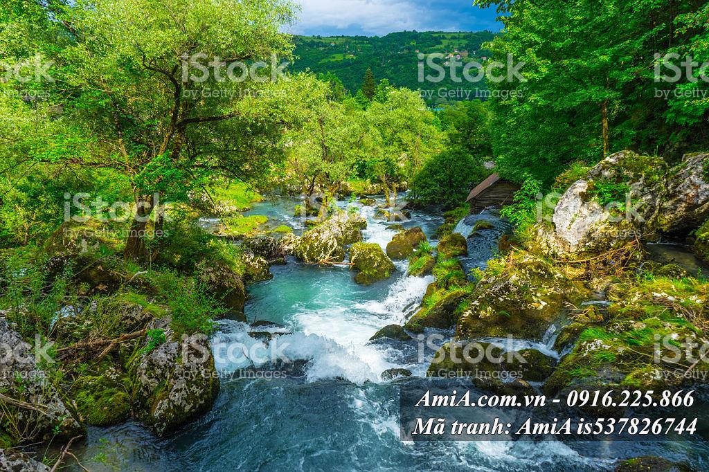 Tranh thác nước đẹp từ thiên nhiên phong cảnh tự nhiên