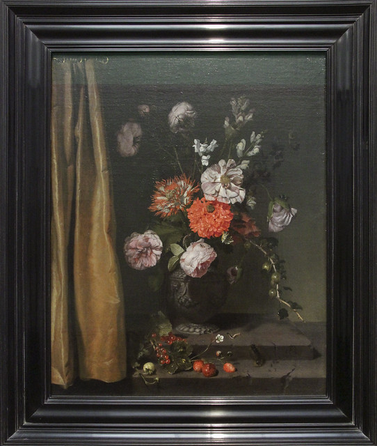 Still Life with Flowers and a Curtain, Jan van Rossum, 1671