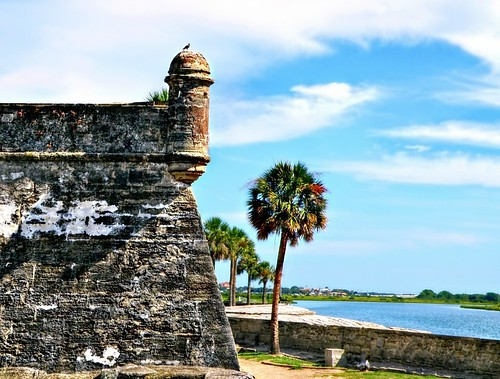 castiullodesanmarcoswatchtower castillodesanmarcos fort staugustine historic americasoldestcity matanzasriver gunturret architecture bird palmtrees scenic water bluesky clouds