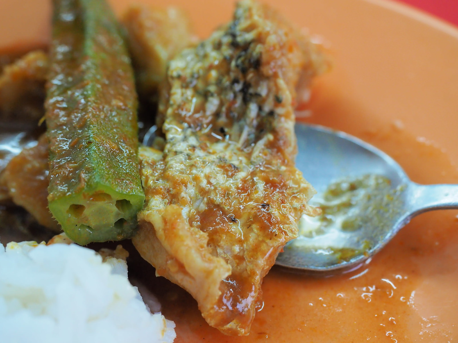 Okra / Lady's Finger and slice of fish from the Curry Fish Head