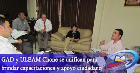 GAD y ULEAM Chone se unifican para brindar capacitaciones y apoyo ciudadano