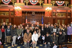 Rep. Sampson and Sen. Joe Markley with students from Wolcott High School during a tour of the Capitol.