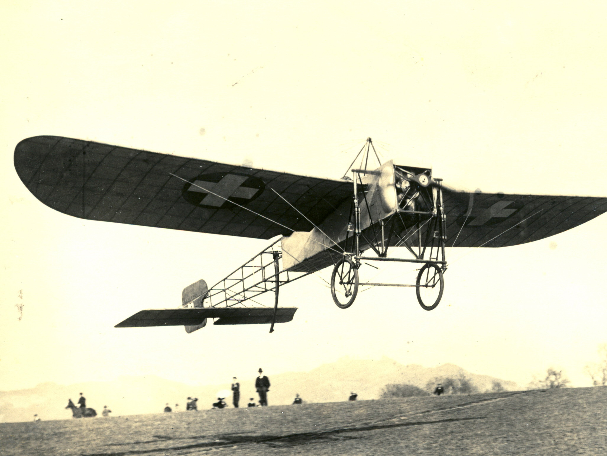 Oskar Bider starting from Bern to his flight over the Alps, showing the pyramidal dorsal cabane of later Bleriot XI examples. Photo taken on May 13, 1913.