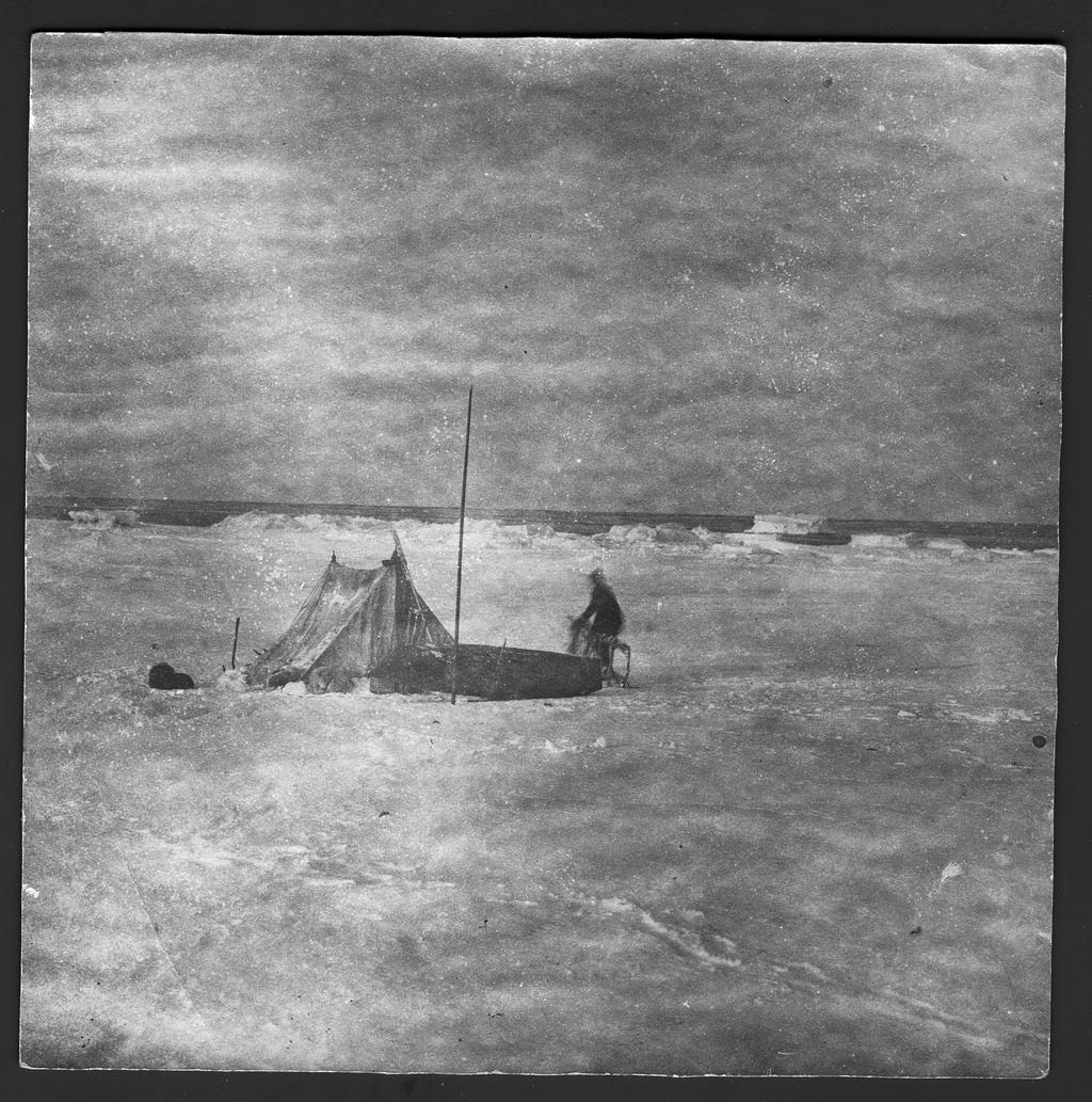 Участники санной экспедиции около своей палатки.