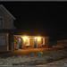 Hessay Station in the dark