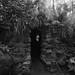 fine art black & white view of Ossian's Cave, The Hermitage Pleasure Ground, Dunkeld, Perth & Kinross, Scotland