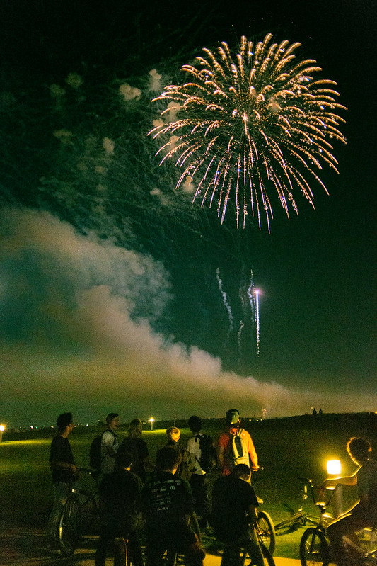 Bikers and Fireworks