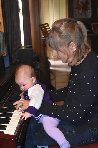 Grandma Jill Weaver gave grand-daughter Charlotte a piano lesson 1 July 2018