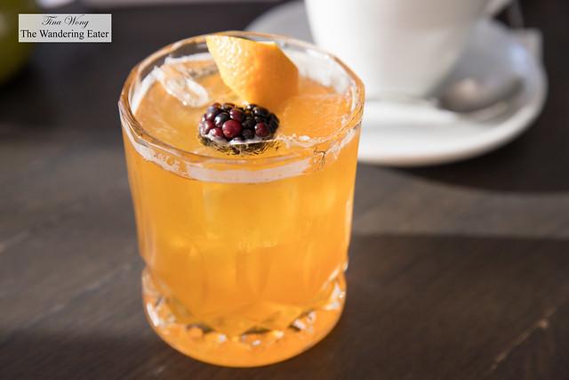 Rhubarb Spritz - Split Tree Cocktail Co. Rhubarb & Elderflower cordial, sprop a spritz bitter orange syrup, soda water, Kinsip hibiscus rosehip bitters