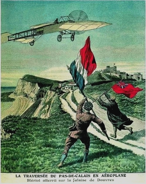 Commemorative poster created in 1909.. Inscription: Flight across the English Channel an airplane. Bleriot landed on the coast at Dover.