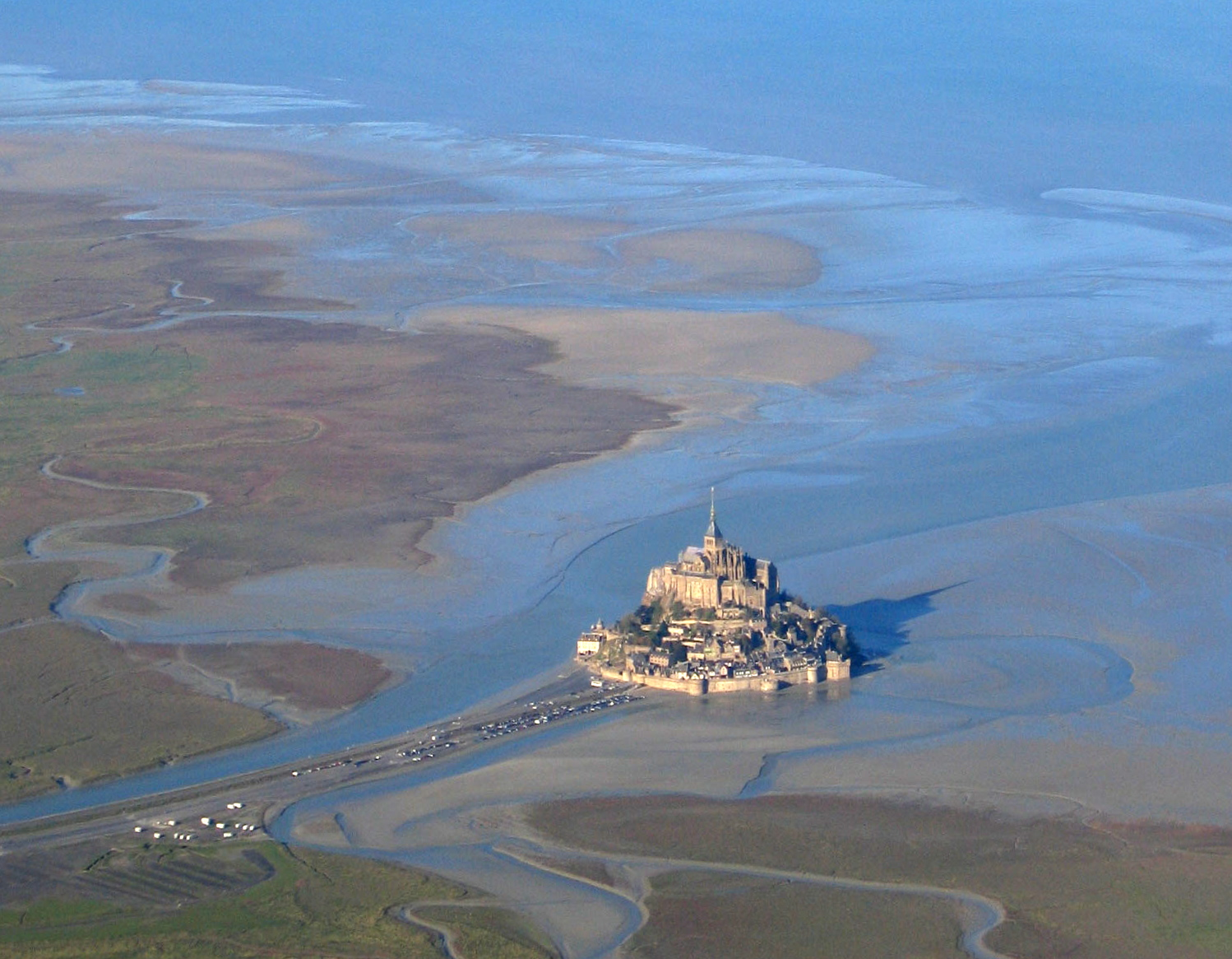 Aerial photograph of Mont Saint-Michel at low tide. Photo taken on November 20, 2005.
