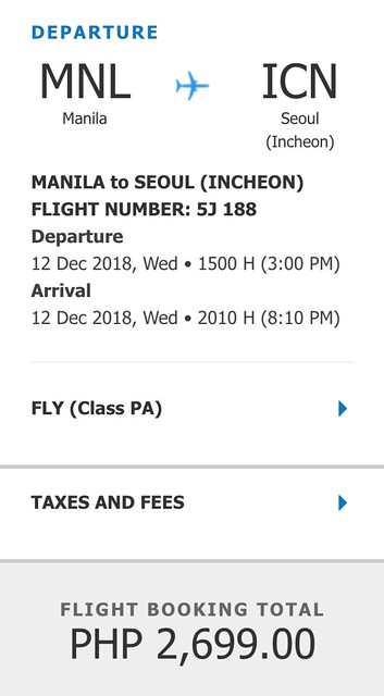 Cebu Pacific Promo Manila to Seoul Incheon December 12, 2018